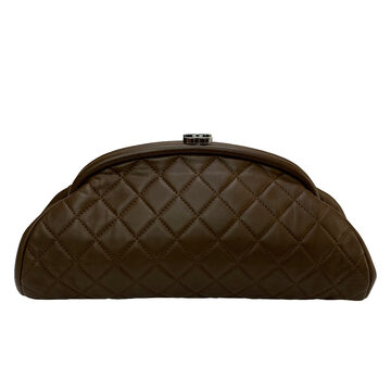 Clutch Chanel Timeless Couro Marrom