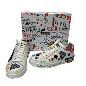 Tênis Dolce & Gabbana Queen Graffiti Lace-Up Branco